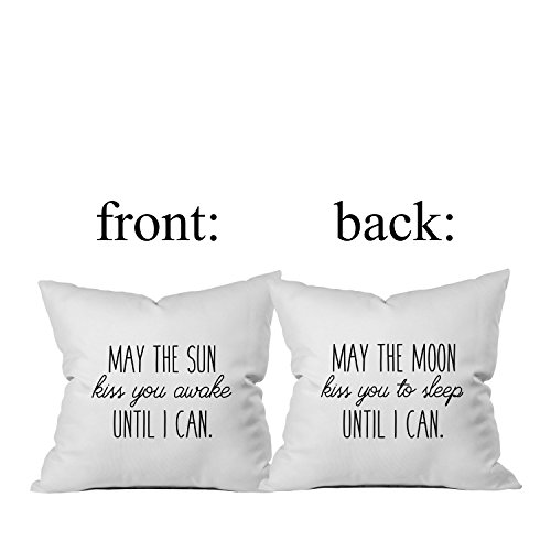 Oh, Susannah May the Sun Kiss You Awake Until I Can, May the Moon Kiss You to Sleep Until I Can Throw Pillow Cover (1 18 x 18 Inch, Black) Long Distance Relationships Gifts for Her I Love You Gift