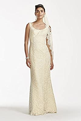 Oleg Cassini Lace Tank Scoop Neck Wedding Dress Style CKP571