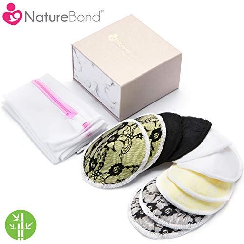 NatureBond Washable Organic Nursing Pads (10 PCs) | Contoured Reusable Breast/Breastfeeding Pads with Laundry Bag | Beautiful Lace Absorbent Hypoallergenic | Baby Shower ()