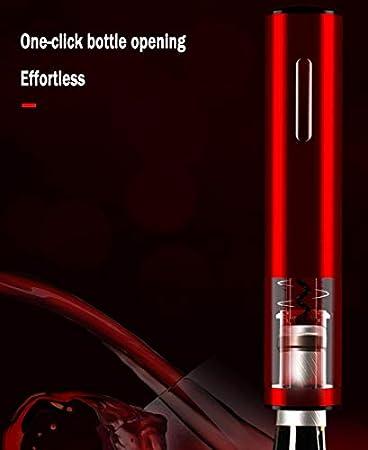 LJFJJ Abrebotellas eléctrico para Vino Uso doméstico Aleación de Aluminio Modo de Carga Sacacorchos automático con Cortador de Papel y Cargador USB (Color : Red)