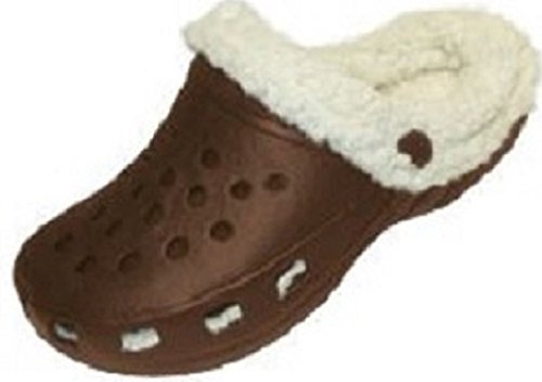 Ladies Clogs W/SHerpa Cuff & Lining (7/8, Brown 7000) Fleece Lined Clogs