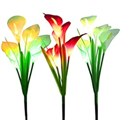 Garden and Outdoor WOSPORTS Solar Lights Outdoor Garden Stake Flower Lights, Multi Color Changing LED Lily Solar Powered Lights for Patio… outdoor lighting