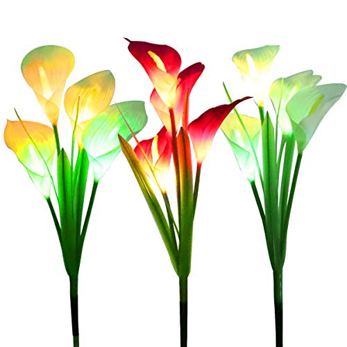 WOSPORTS Solar Lights Outdoor Garden Stake Flower Lights, Multi Color Changing LED Lily Solar Powered Lights for Patio…