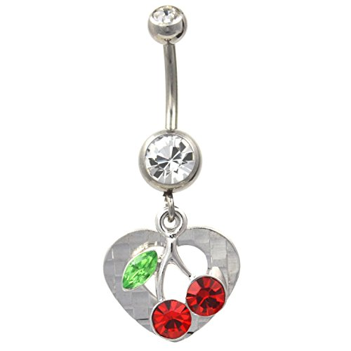 Checkered Cherry Vine Heart Belly Ring Multi Clear Gem Navel Piercing (Checkered Ring Button Belly)
