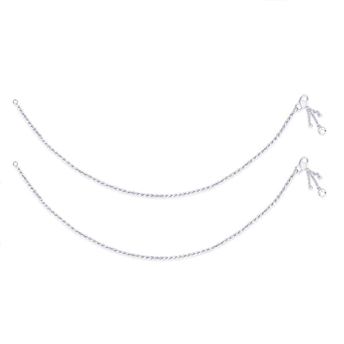 Taraash Single Line Twisted Ending with Charm 925 Sterling Silver Anklet For Women AN0562S Anklets at amazon