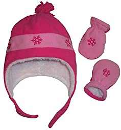 N\'Ice Caps Girls Snow Embroidered Sherpa Lined Micro Fleece Hat and Mitten Set (3-6 Months, Infant - Fuchsia/Pink)