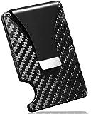 Carbon Fiber Men RFID Mini Wallet Money Clip Screw Fixation Elastic B