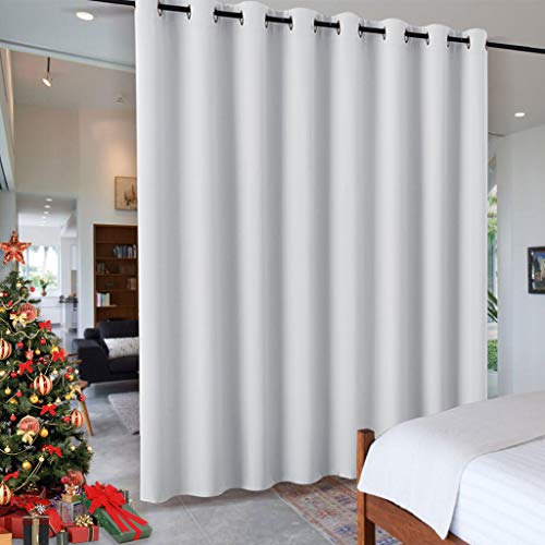 - RYB HOME White Separation Room Divider Heavy Duty Share Space Decorative Gift Christmas, Partiton Grommet Top Drape for Patio Sliding Door/Clinic/Hospital, W 15 x L 8 ft, Greyish White, 1 Panel