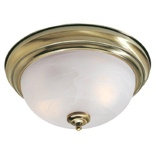 Livex Lighting 7117-01 North Port 2 Light Antique Brass Flush Mount with White Alabaster Glass (Regency Bowl Pendant)