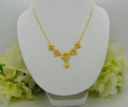 Gorgeous 22k 23k 24k Yellow Gold Plated Women Girl Necklace Pendant Choker Flower Snake Chain 17 Inches 1.5 mm ()