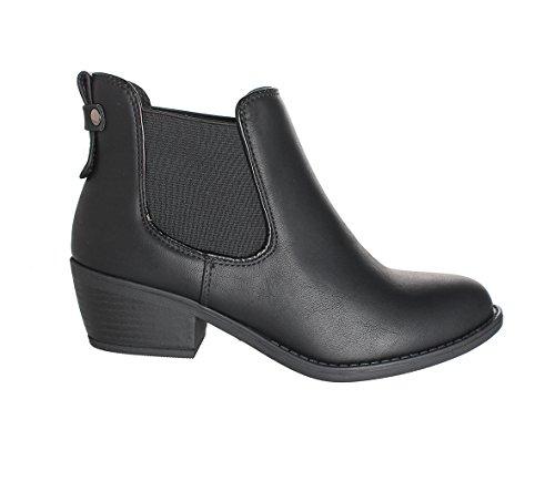 Refresh - Damen Tildon-02Einfacher Ankle Bootie Schwarz Pu