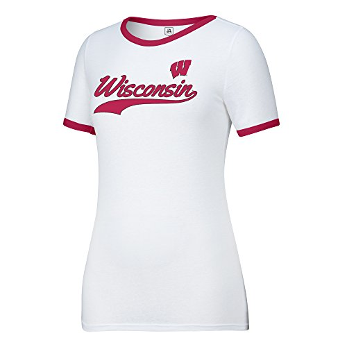 (J America NCAA Wisconsin Badgers Women's Make A Move Tee, White/Red, Medium)