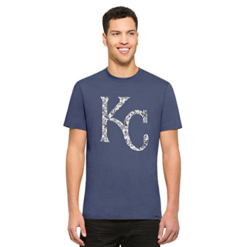('47 MLB Kansas City Royals Men's Crosstown Flanker Tee, Bleacher Blue-Logo, Medium)