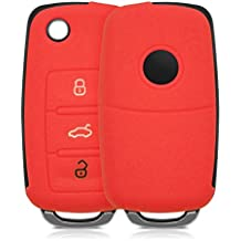 kwmobile Silicone cover for VW Skoda SEAT 3 Button Car Key Protection cover Etui Key Case Cover in red
