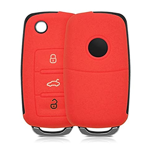kwmobile Silicone cover for VW Skoda Seat 3-Button Car Key Key Protection cover Etui Key Case Cover in red