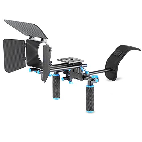 Neewer DSLR Movie Video Making Rig Set System Kit for Camcorder or DSLR Camera Such as Canon Nikon Sony Pentax Fujifilm Panasonic,include:(1)Shoulder Mount+(1)15mm Rail Rod System+(1)Matte box (Video Rig)