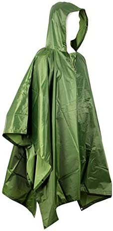 Gomerbesen 3 in 1 Rain Poncho Reusable Lightweight Camping Tent Mat Rain Camouflage Poncho with Hood for Outdoor Activities