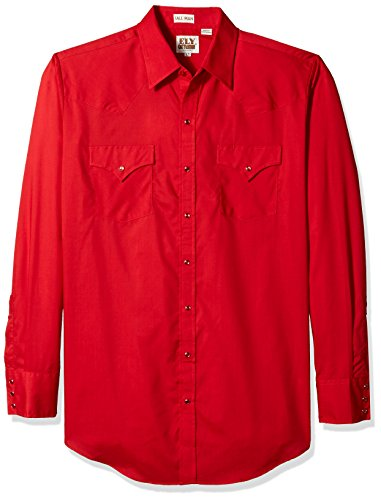 (Ely & Walker Men's Size Long Sleeve Solid Western Shirt-Tall, red, 3X-Large)
