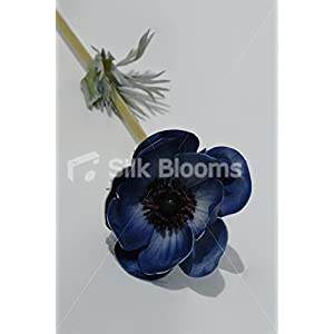 Single Artificial Fresh Touch Dark Blue Anemone, Silk Blue Poppy 18
