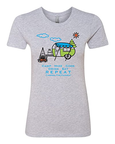 Camp, Hike, Cook, Drink, Eat, Repeat Slim-Fit Junior's Cut Tee made our list of Inspirational And Funny Camping Quotes