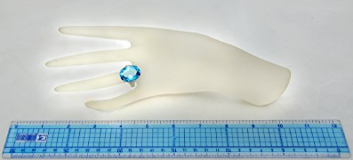 Sterling Silver 925 STATEMENT Ring GENUINE SWISS BLUE TOPAZ 22 Carats with RHODIUM-PLATED Finish (6, swiss-blue-topaz) by RB Gems (Image #4)
