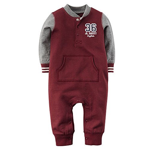 Carter's Baby Boys' Henley French Terry Jumpsuit (3 Months, Maroon)