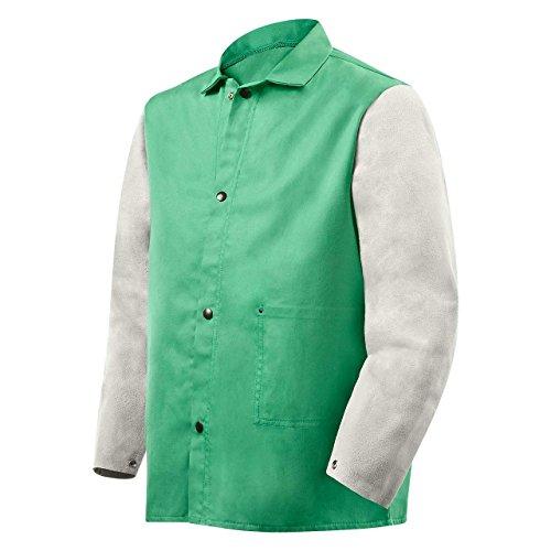 Steiner 1230-X 30-Inch Jacket, Weldlite Plus Green Cotton, Gray Cowhide Sleeves, Extra Large