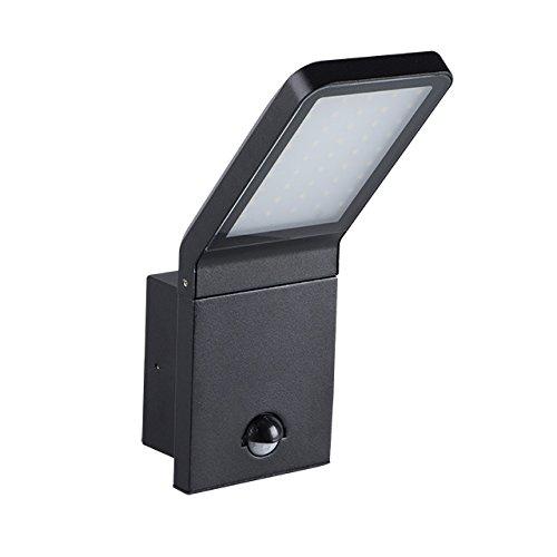 Mit Bewegungsmelder Spot LED BARCELONA IP44 Außenlampe aus hochwertigem Aluminium   9W, 4000K - neutralweiß, schwarz (mit Bewegungsmelder)