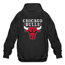 LJQIANG Men's Chicago Bulls Logo Sweatshirts XXL Black