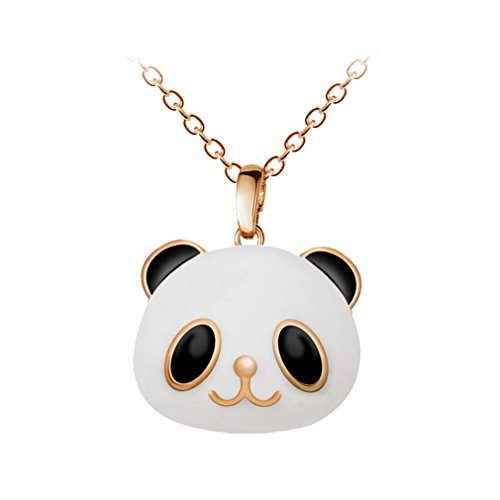 - T-JULY Rose Gold Cute Cubic Zirconia Black White Panda Pendant Clavicle Chain Crystal Necklace For Women