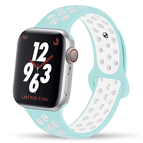 YC YANCH Greatou Compatible for Apple Watch Band,Soft Silicone Sport Band Replacement Wrist Strap Compatible for iWatch Apple Watch Series 3/2/1,Nike+,Sport,Edition,42mm M/L,Marine Green White