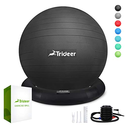 Posture Ball Chair - Trideer Ball Chair - Exercise Stability Yoga Ball with Base for Home and Office Desk, Ball Seat, Flexible Seating with Ring & Pump, Improves Balance, Back Pain, Core Strength & Posture(Ball with Ring