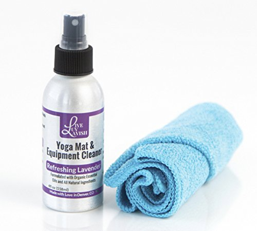 Premium Organic Lavender Yoga Mat and Equipment Cleaner- 4oz! Safe and Effective Deep Clean on any Workout Equipment Including Yoga and Pilates Mats and Props. FREE Microfiber Towel Included!