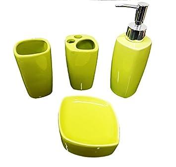 Takestop® Juego de 4 piezas baño verde de cerámica dispensador para jabón jabonera Vaso Porta