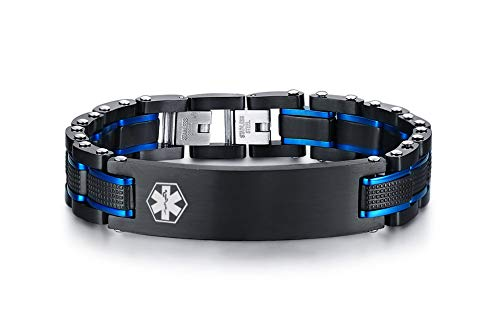 MEALGUET Personalized Free Engraving Men's 2-Tone Black Blue Masculine Stainless Steel Medical Alert ID Bracelet for Men (Bracelet Black Id Medical)