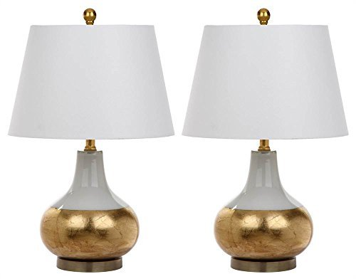 Safavieh Lighting Collection Nova and Gold Glass Table Lamp 23.5-inch White (Set of 2)