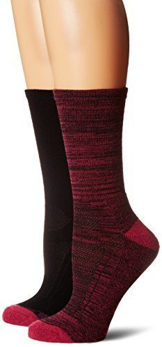Hush Puppies Women's Ladies Acrylic Boot Sock 2-Pack, Fuchsia Mix/Black/Pink, 9-11