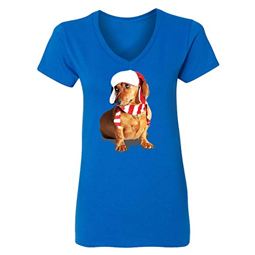 Happy New Year Cute Brown Weiner Dog Costume V-Neck T-Shirts for Women(Royal,Large) ()