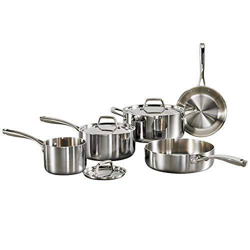 Tramontina 80116/597DS Gourment Tri-Ply Clad Stainless Steel, 8-Piece, Made in Brazil Cookware Set,