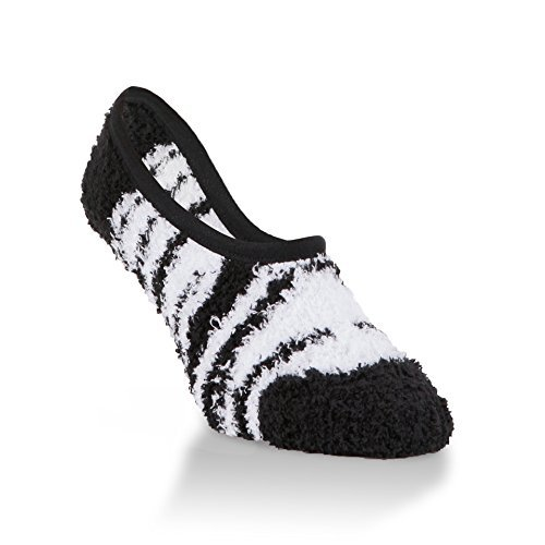 World's Softest Women's Spa Collection Soft Footie Socks One Size Fits Most (Jester Zebra)