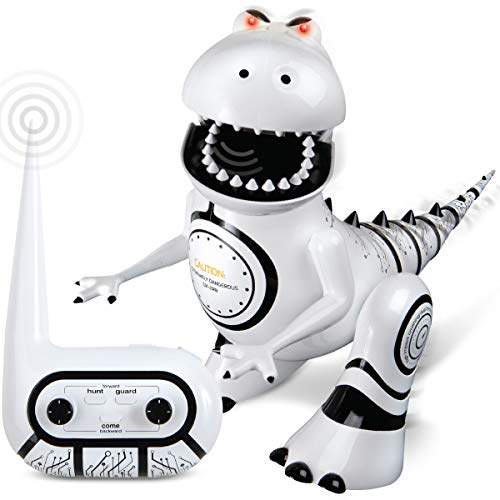 Sharper Image Interactive RC Robotosaur Dinosaur, Built-in Mood Sensors and Color-Changing LED Eyes, Motion Detection, Growls, Snores, Battery Operated- White/Black ()