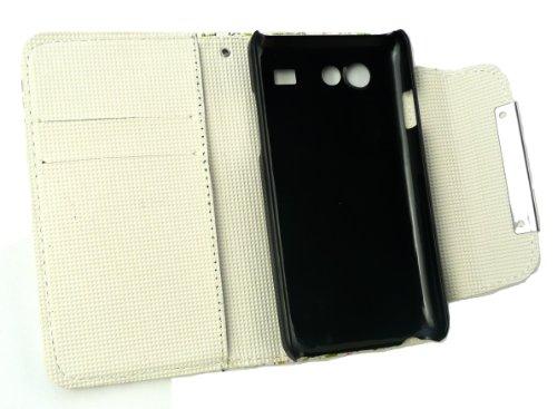Emartbuy ® Samsung Galaxy S Advance I9070 Caja De La Carpeta De Lujo / Cubierta / Bolsa Floral De Rosa / Verde Con Ranuras Para Tarjetas De Crédito Y Protector De La Pantalla Lcd