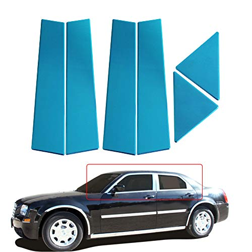 (Pack of 6) Stainless Steel Chrome Door Pillar Post Trims Compatible for Chrysler 300 300C (2005 2006 2007 2008 2009 2010) Window Decoration (Chrome Parts Trim)