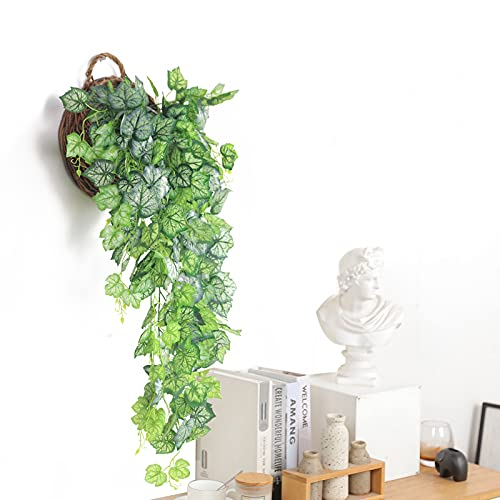 Hawesome 1Pcs Artificial Hanging Plants Vines 3.6Ft Fake Ivy Greeny Leaves Indoor Outdoor Garden Wedding Garland Decor(White Grapevine)