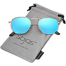 SOJOS Small Square Polarized Sunglasses for Men and Women Polygon Mirrored Lens SJ1072 SJ1077