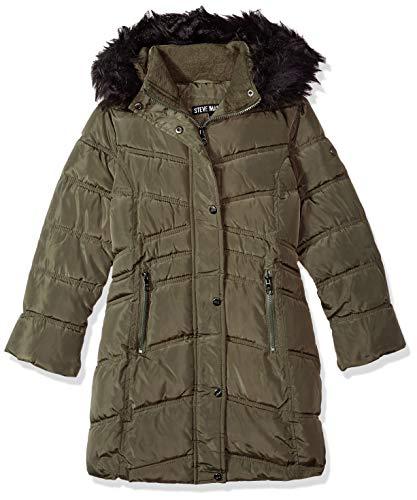 - Steve Madden Girls' Big Long Jacket with Faux Fur Trim Hood, Olive, 10/12