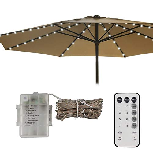 LED Patio Umbrella Lights 8 String 8 Lighting Mode Battery Operated Remote Control Decor Lighting Waterproof for Outdoor Patio Umbrella Table Bistro Pergola Tents Cafe Garden Beach Apply-Cool White by Asobilor (Image #4)