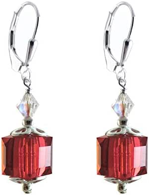 Earrings Made with 8mm Cube Swarovski Crystal Elements Light Siam Colored, Red. Leverback