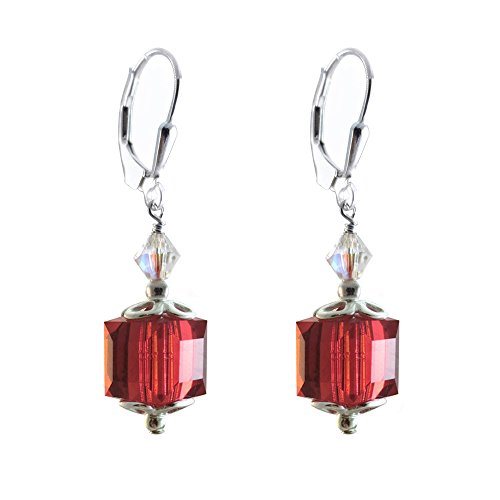 Swarovski 6 Mm Cube (Earrings Made with 8mm Cube Swarovski Crystal Elements Light Siam Colored, Red. Leverback)