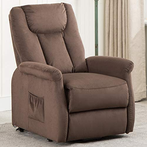 ANJ Power Lift Recliner Chair for Elderly Wide and Heavy Duty, Contemporary Reclining Lift Motor W Remote Control, Chocolate